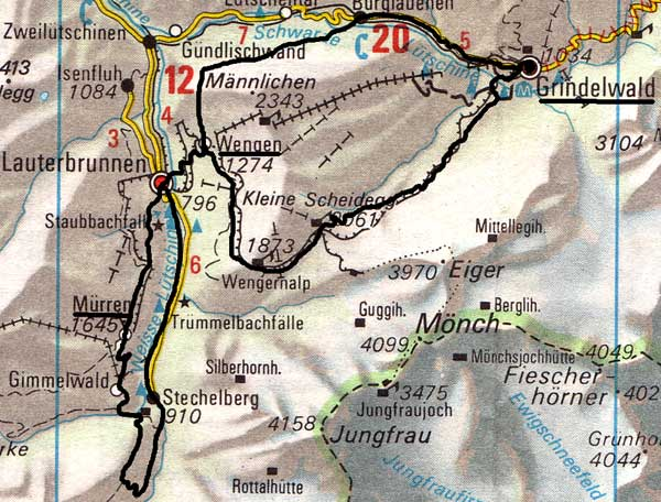 The Cross-Swiss Walk - Wengen to Murren on eiger map, schaffhausen map, hook of holland map, montreux map, verbier map, grosse scheidegg map, st. moritz map,
